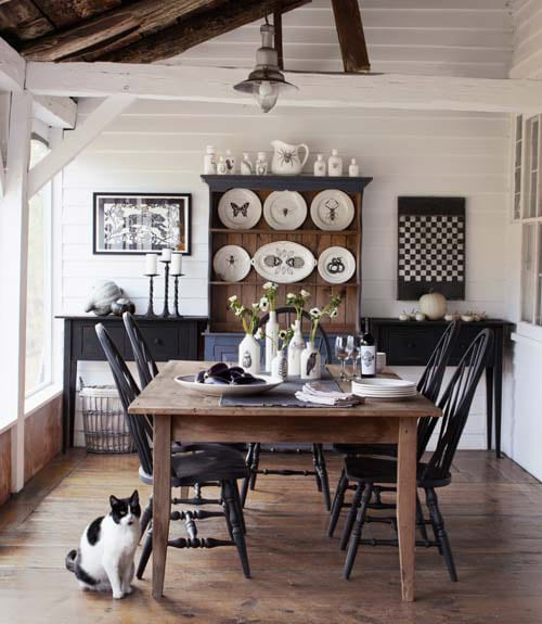 Black White and Wood Dining Room