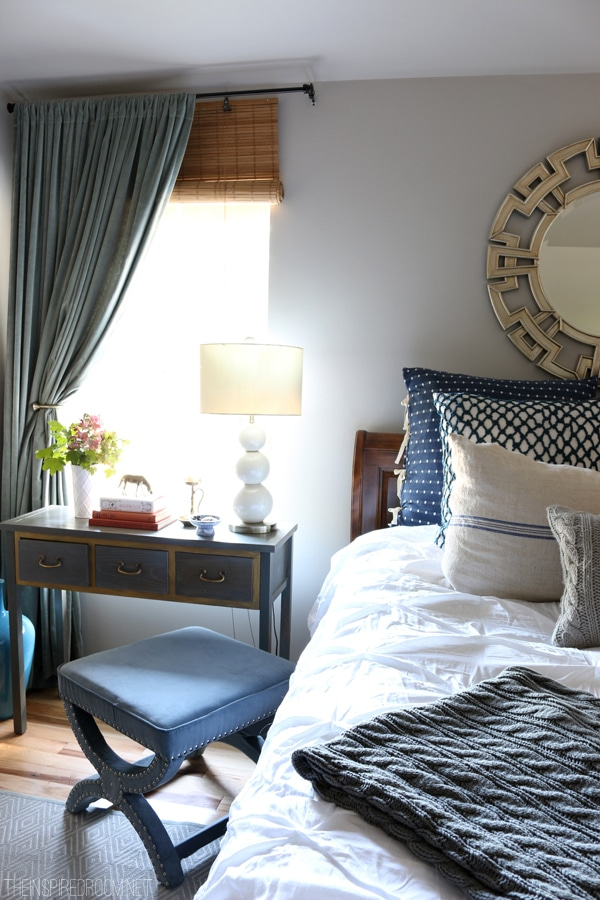 Navy and White Bedroom Decorating - The Inspired Room