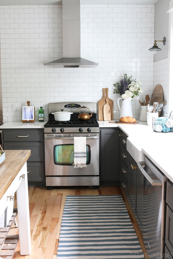 Fall Kitchen - Charcoal Cabinets and White Subway Tile
