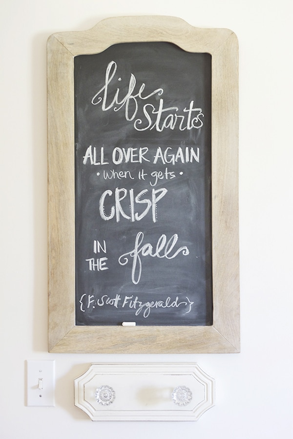 Fall Quote - Wood Chalkboard in the Entry