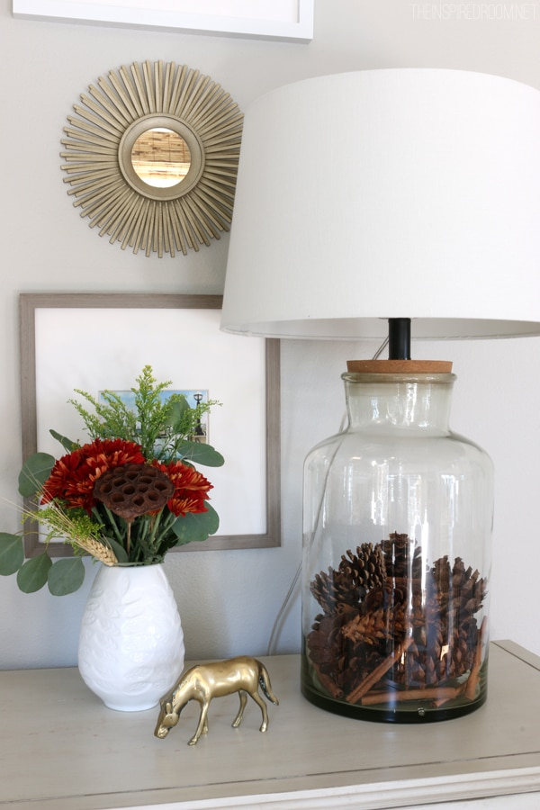 Seasonally Filled Jar Lamp - Fall Pinecones