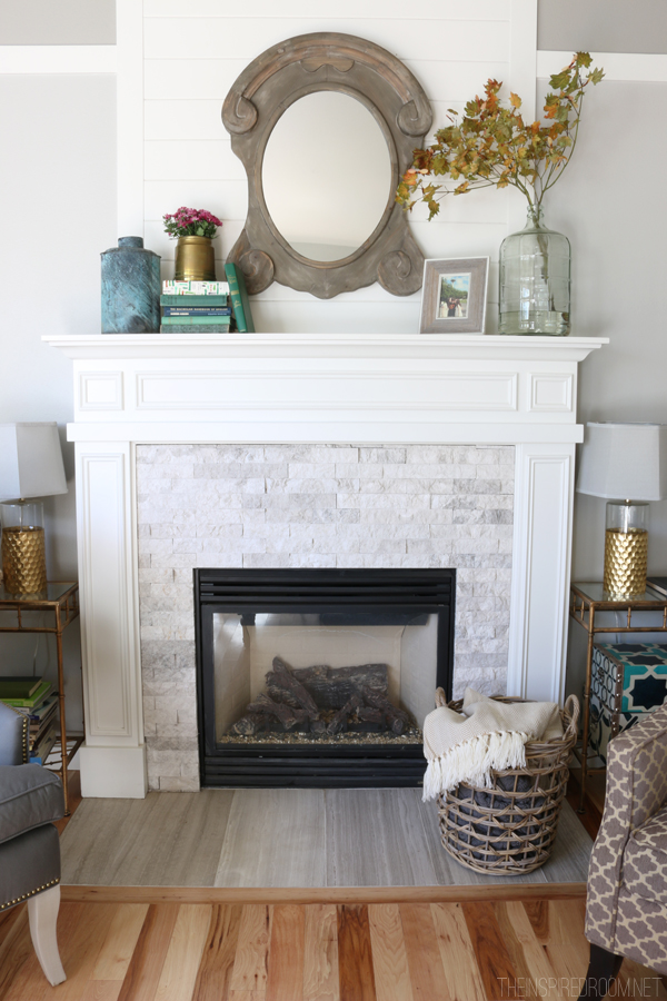 Simple Fall Mantel - The Inspired Room Fall Decorating