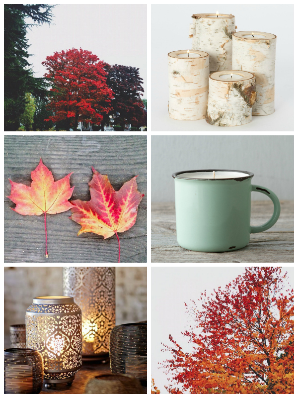 Fall Candles - Birch Candleholders Punched Lanterns and Mug Candle