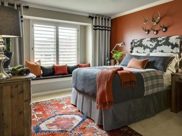 Laura McCroskey Tween Boy Bedroom in Rust and Gray