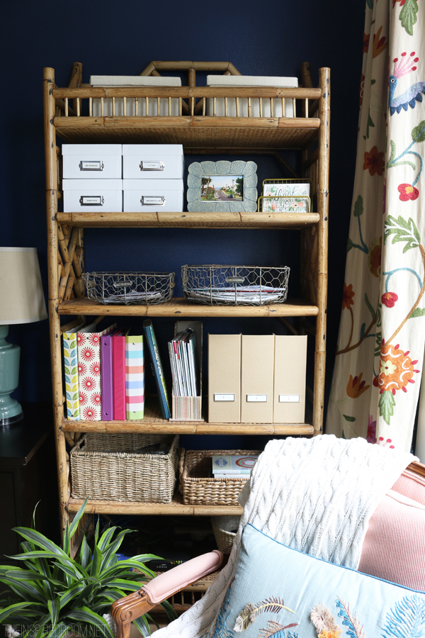 Navy Blue Office - Rattan Bookshelf