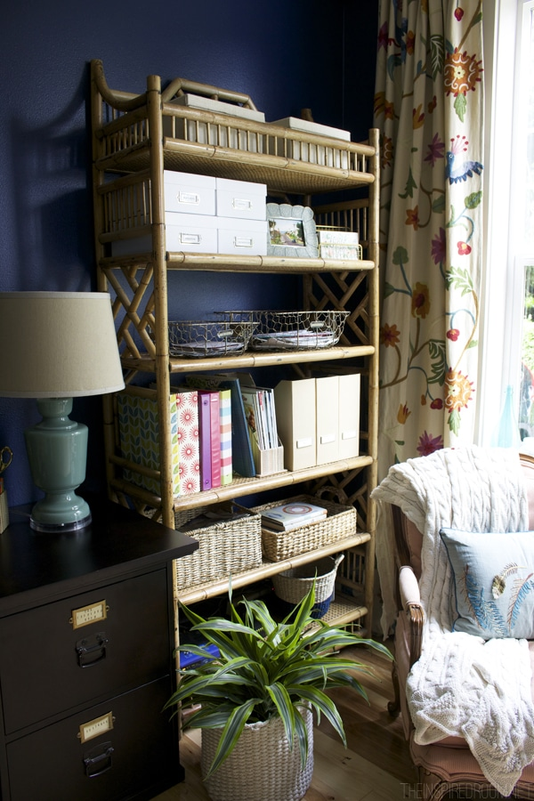 Navy Blue Office - The Inspired Room - Rattan Bookshelf