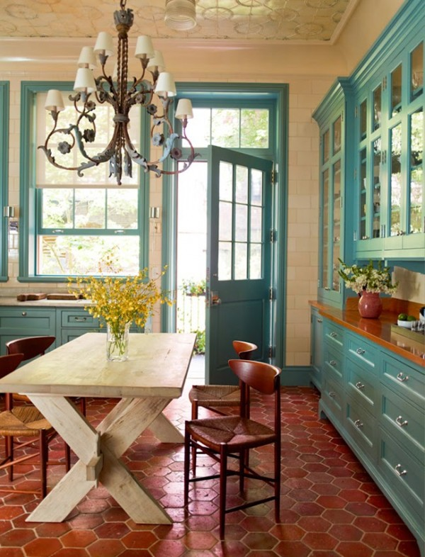 Sawyer Berson - Teal and Rust Kitchen