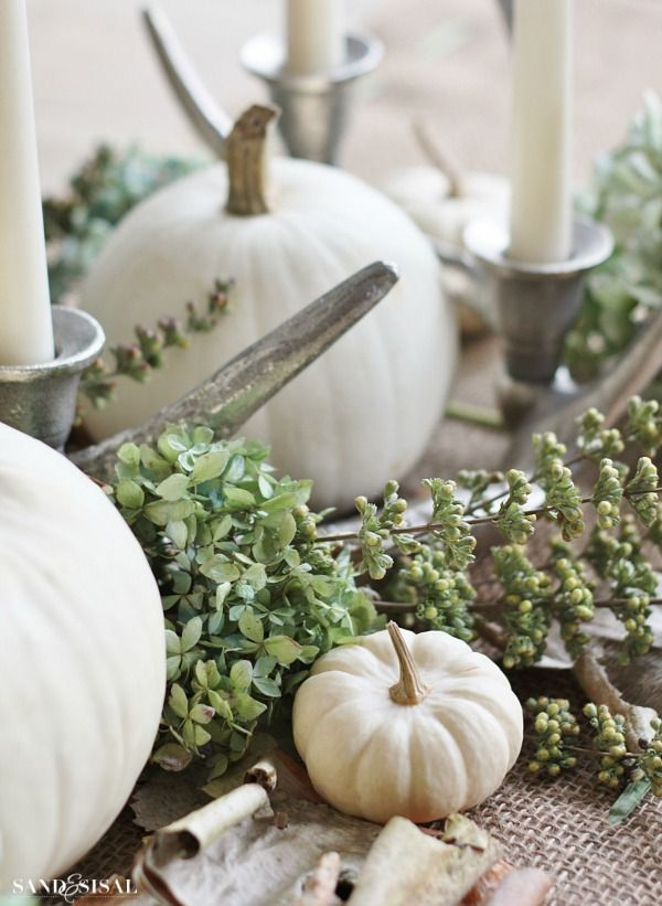 White Pumpkin Tablescape - Quiet Fall - Sand and Sisal