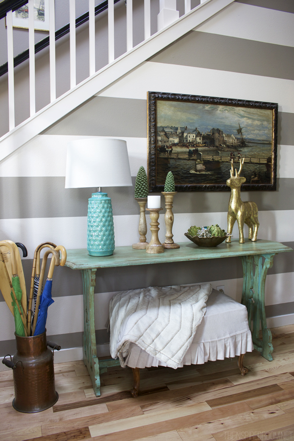 Gray and White Striped Entry Wall - Entry Console Table - The Inspired Room