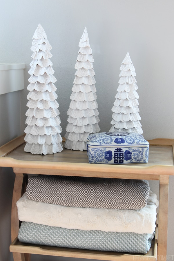 Simple Christmas Decorating - White Ruffle Trees and Cozy Blankets