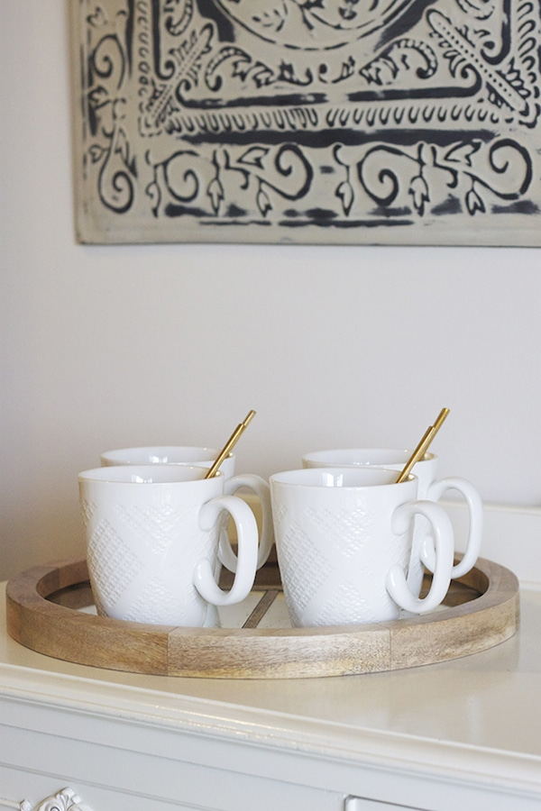White Mugs with Gold Stirrers - Nate Berkus for Target