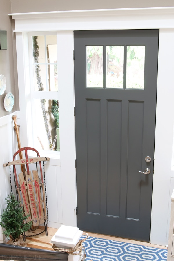 Charcoal Front Door - The Inspired Room Christmas House Tour