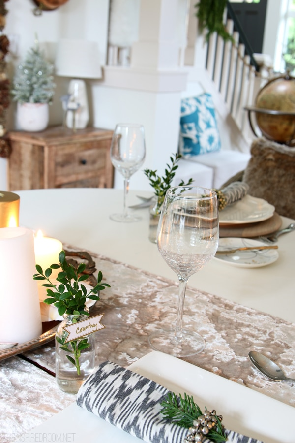 Christmas Dining Room - Tablescape - The Inspired Room Christmas Blogger House Tour