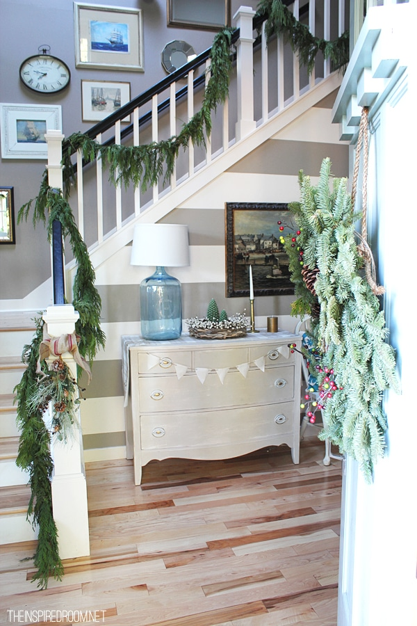 Christmas Entry and Staircase Decorating Ideas - The Inspired Room