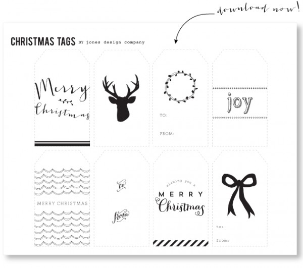 picture regarding Printable Christmas Tags Black and White identified as No cost Printable Present Tags - The Influenced Place