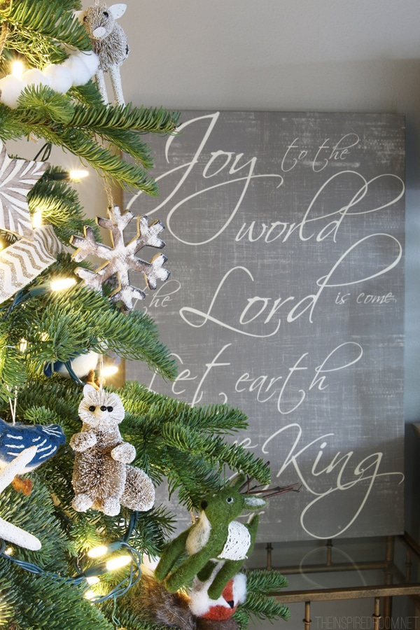 Christmas House Tour - Red Letter Words Christmas Canvas - The Inspired Room
