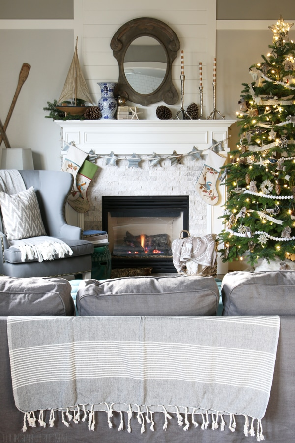 Christmas House Tour - The Inspired Room Family Room - Neutral Christmas Decorating