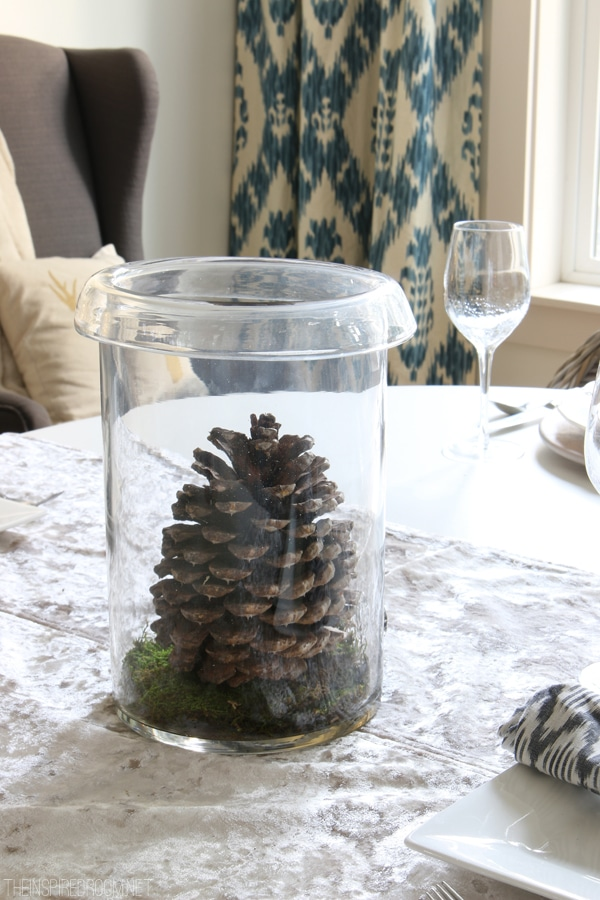Easy Centerpiece - Pinecone and Moss in a Hurricane - The Inspired Room
