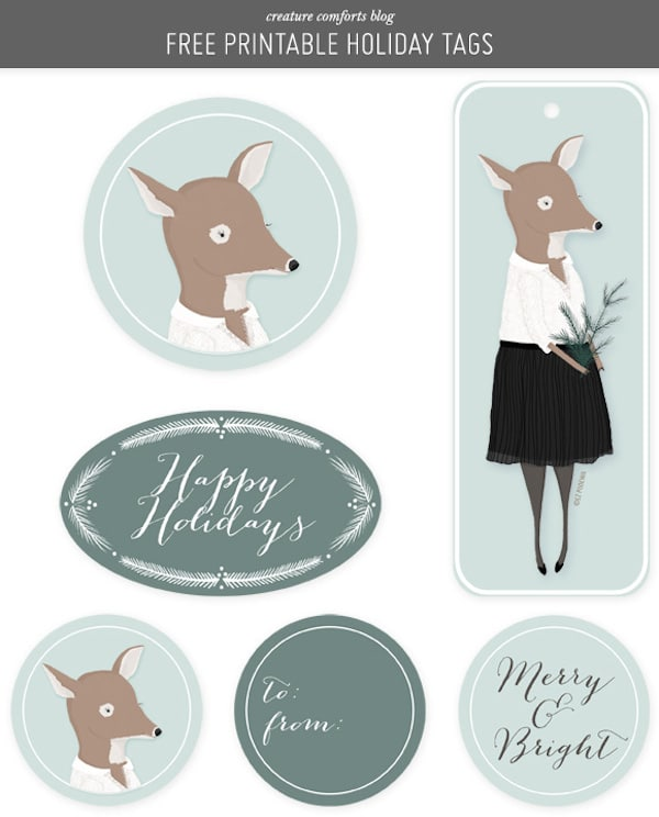 Free Printable Holiday Gift Tags - Creature Comforts Blog