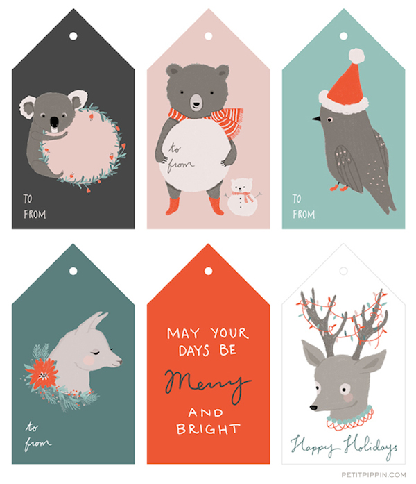 Free Printable Illustrated Holiday Tags - Petit Pippin
