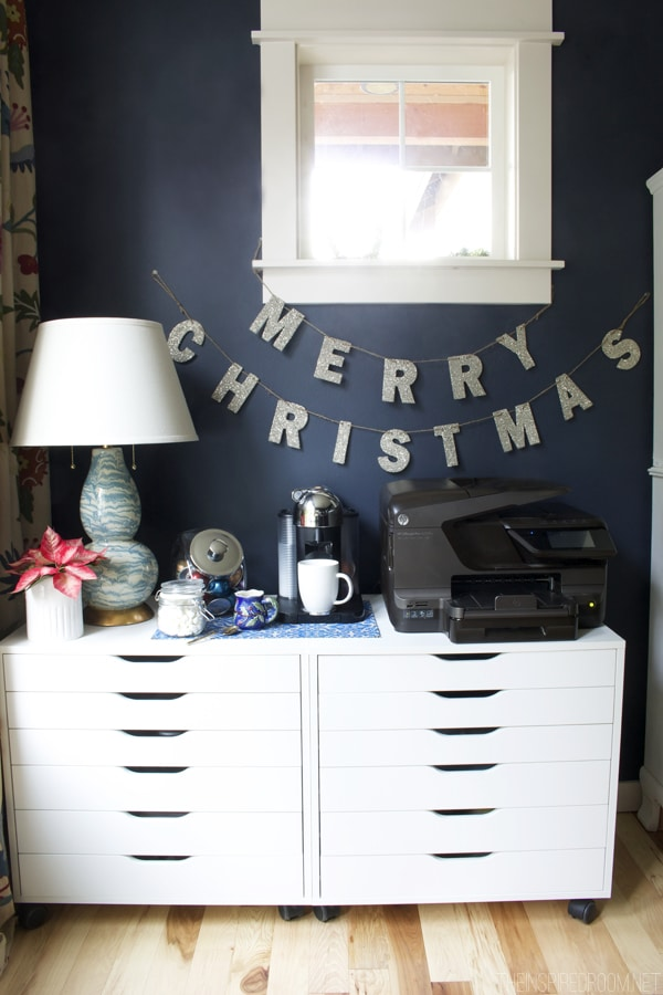 German Merry Christmas Glitter Garland - Pottery Barn - The Inspired Room Navy Office