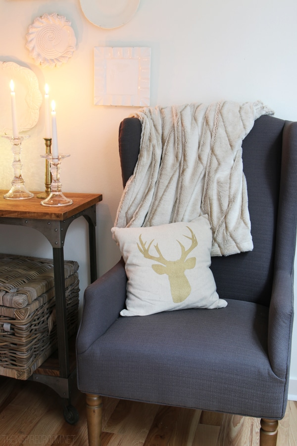 Gold Deer Antler Pillow - Simple Christmas Decorating