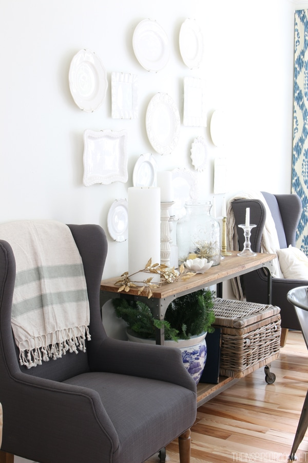 Gray Wingback Chairs - White Dining Room - The Inspired Room Simple Christmas House Tour