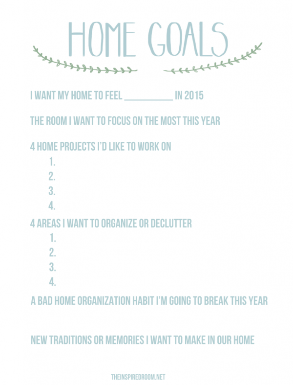 Home Goals Worksheet - The Inspired Room