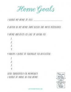 Home Goals Worksheet from the book Love the Home You Have