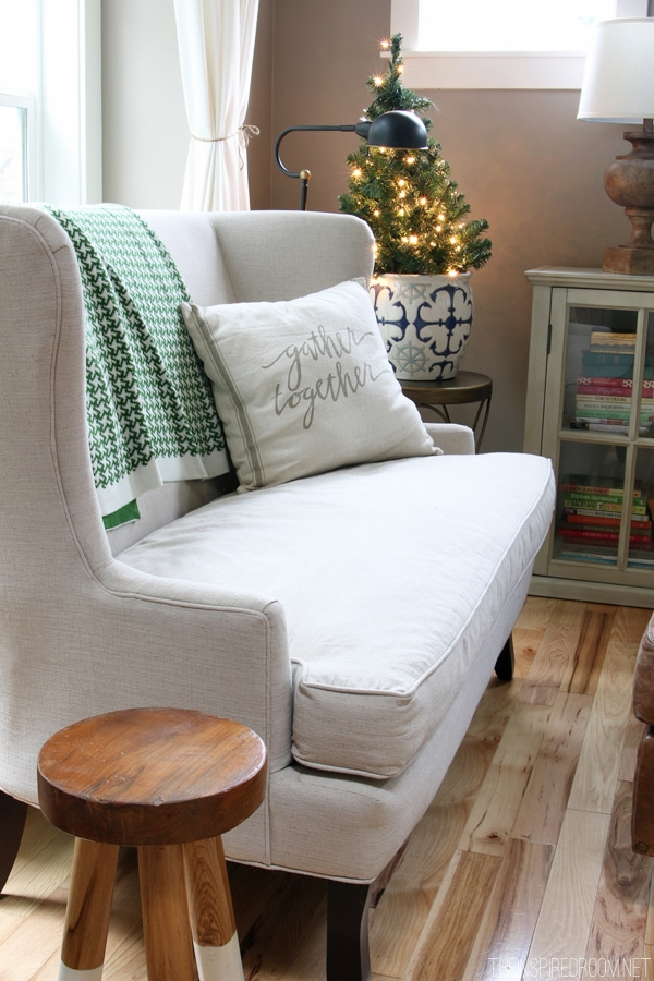 Linen Settee - Christmas Decorating The Inspired Room