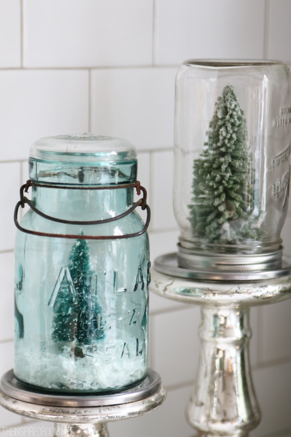 Mason Jar Snow Globes - The Inspired Room Christmas House Tour