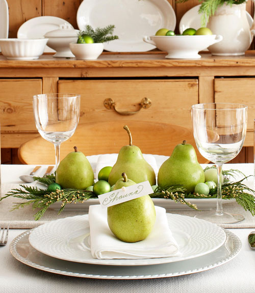 Pear Name Cards and Centerpiece - Green Christmas Decorating - Michael Partenio