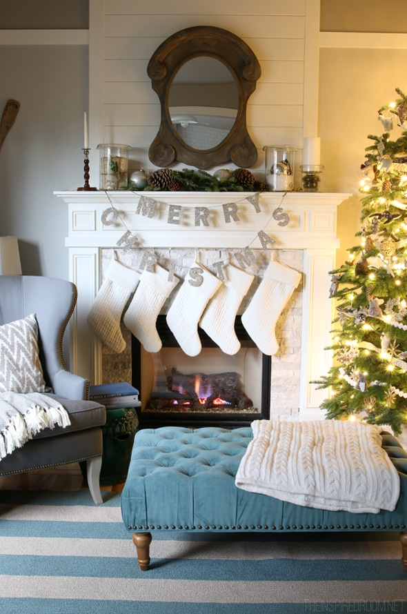 Pottery Barn Glitter Merry Christmas Garland on the Fireplace- The Inspired Room