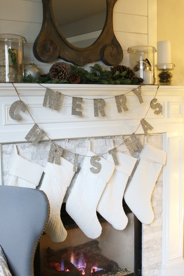 Pottery Barn Merry Christmas Glitter Garland - The Inspired Room Mantel
