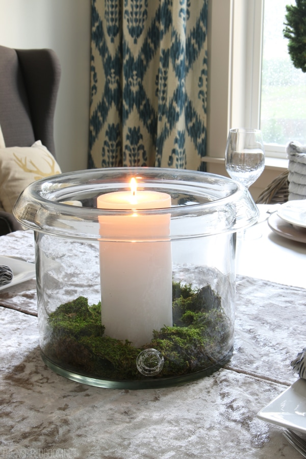 Simple Centerpiece with Candle and Moss - Pottery Barn Branson Hurricane - The Inspired Room