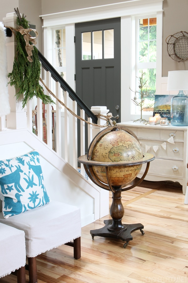 Simple Christmas Entry Decorating - Antique Globe - The Inspired Room House Tour