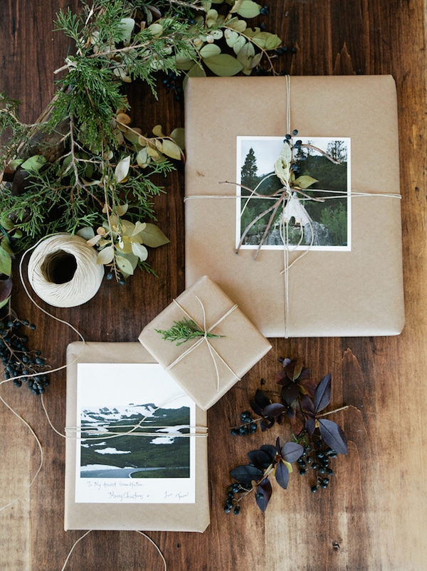 Simple Gift Wrap Idea - Brown Kraft Paper with Photograph Twine and Greenery - Photo by Fawn Deviney for Artifact Uprising