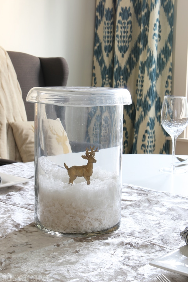 Simple Winter Centerpiece - Faux Snow and Gold Deer in a Hurricane - The Inspired Room