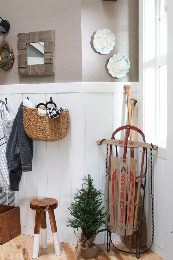 The Inspired Room Christmas House Tour - Entry Decorating with Vintage Sled