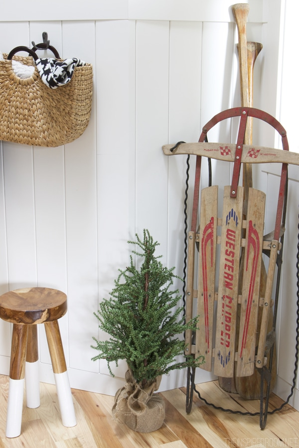 Vintage Sled Christmas Decorating - The Inspired Room House Tour
