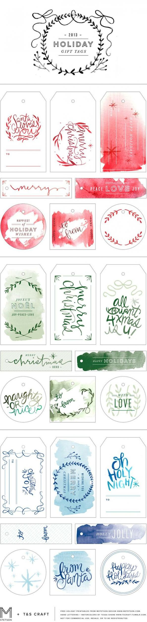 Watercolor Gift Tag Printables - MStetson Design and T and S Craft