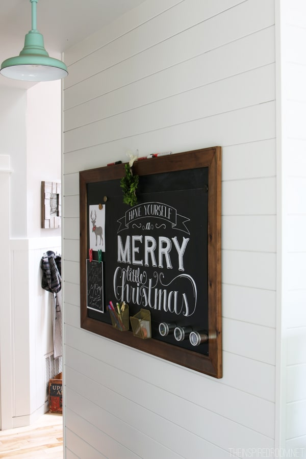White Paneled Hallway and Barnlight - Framed Wood Chalkboard - The Inspired Room Christmas House Tour