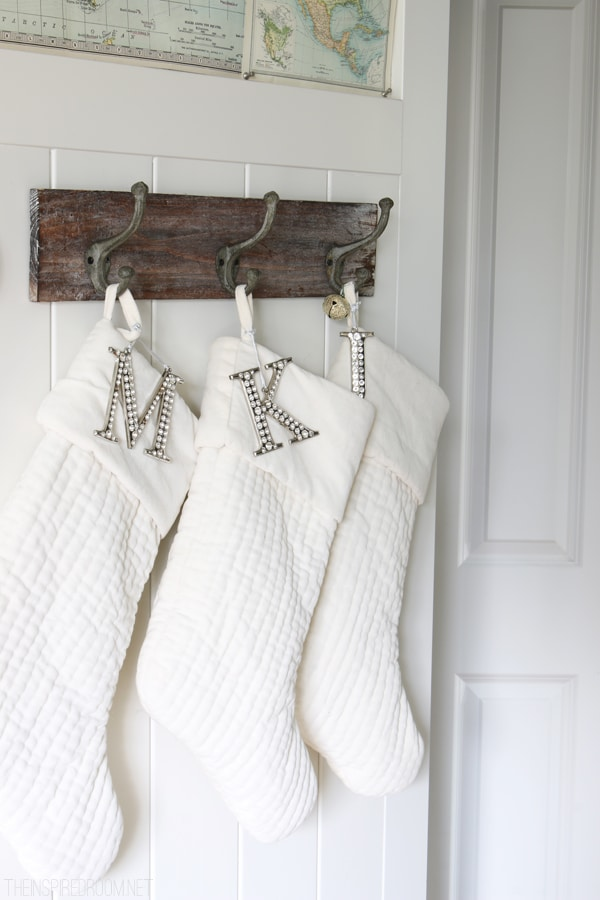White Velvet Stockings - The Inspired Room Christmas House Tour