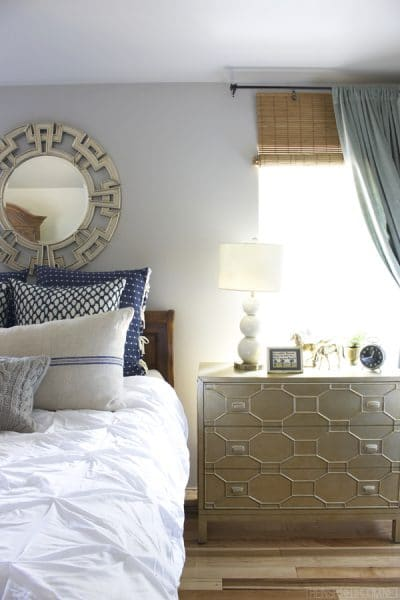 Master Bedroom Update: Bedroom-Decorating-Navy-White-and-Gold-The-Inspired-Room