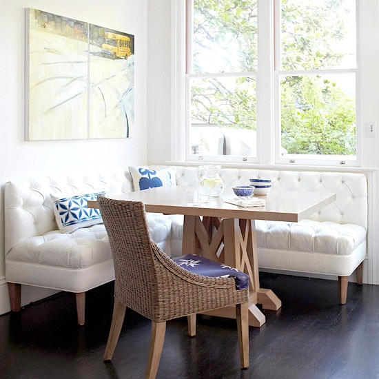 Breakfast Nook - White Tufted Dining Banquette