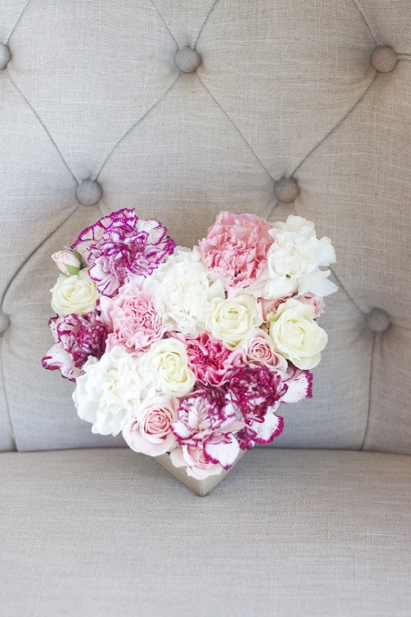 DIY Floral Heart for Valentines Day - Michaela Noelle Designs for The Inspired Room