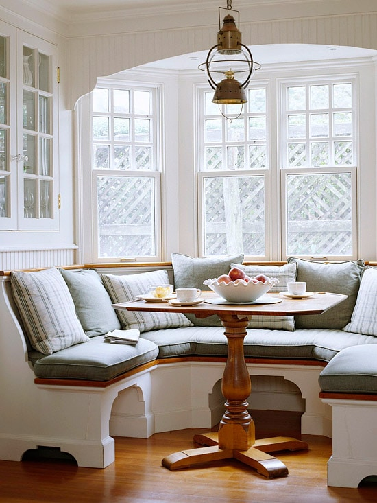 Dining Banquette with Coastal Brass Lantern - Breakfast Nook