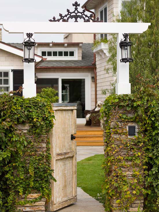 Exterior Lighting Ideas - Lanterns on a Gate Arbor