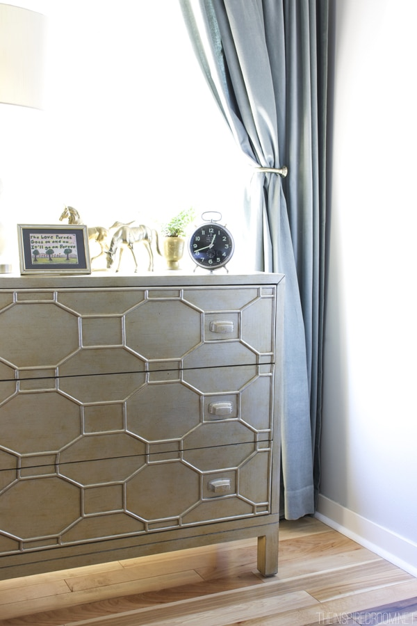 Gold Dresser Nighstand- Bedroom Decorating - The Inspired Room