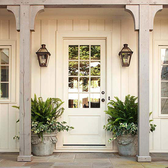 Outdoor Lighting Ideas - Lantern Sconces by the Front Door